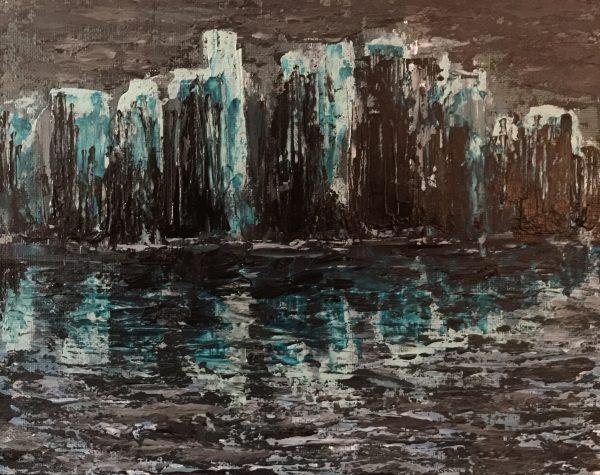KJ's Art Studio | Original Fine Art by Christian American Artist, KJ Burk - City at Night - Abstract