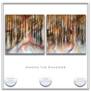 KJsArtStudio.com | AMONG the SHADOWS ~ Original Abstract Diptych Painting by KJ Burk