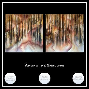 KJsArtStudio.com | AMONG the SHADOWS ~ Original Abstract Diptych Painting by KJ Burk
