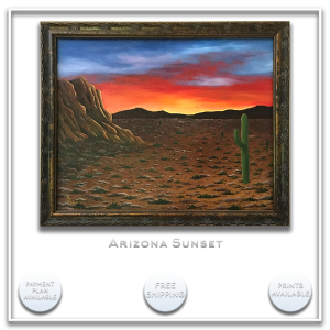 KJsArtStudio.com | ARIZONA SUNSET ~ Original Desert Painting by KJ Burk