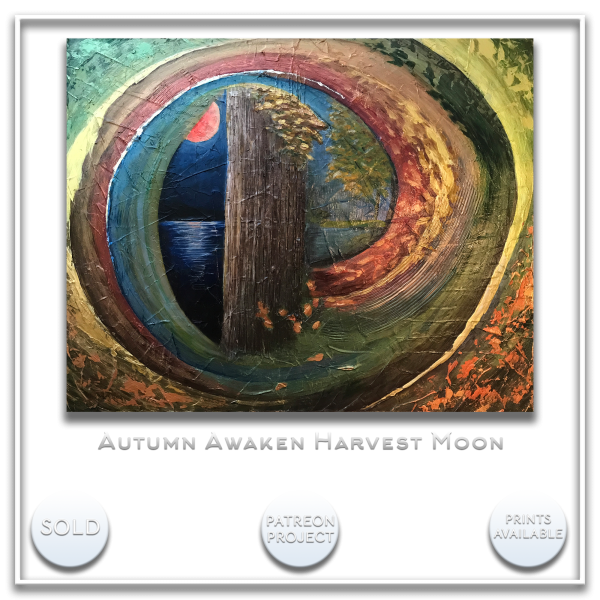 KJ's Art Studio | Original Fine Art by Christian American Artist, KJ Burk - Autumn Awakens Harvest Moon