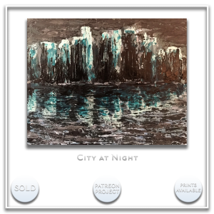 KJ's Art Studio | Original Fine Art by Christian American Artist, KJ Burk - City at Night