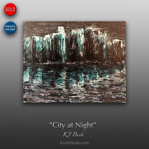 KJ's Art Studio | Original Fine Art by Christian American Artist, KJ Burk - City at Night