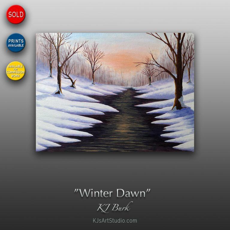 KJ's Art Studio | Original Fine Art by Christian American Artist, KJ Burk - Winter Dawn